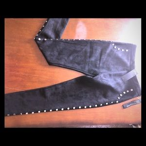 Studded suede pants
